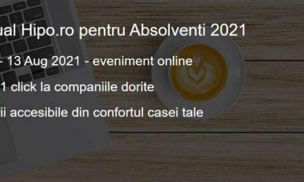 Târgul Virtual Hipo.ro pentru Absolvenți 2021 se desfășoară până pe 13 august